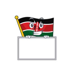 Flag kenya grinning with board cartoon vector