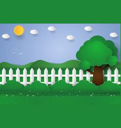 garden paper art style vector image vector image