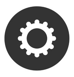 Gear flat white and gray colors round button vector
