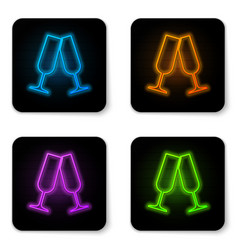 glowing neon glasses champagne icon isolated vector image