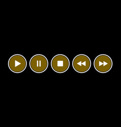 Gold white round music control buttons set vector