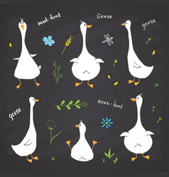 Goose doodles set cute geese sketch hand drawn vector