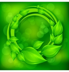 Green leaves wreath on green vector image