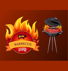 Grill party barbecue roaster vector