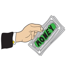 Hand with banknotes vector
