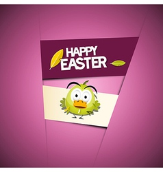 Happy Easter Pink - Violet Background with Funny vector image
