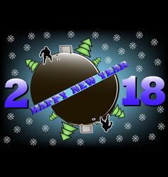 Happy new year 2018 and hockey vector