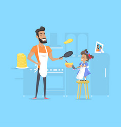 Hilarious father and daughter preparing pancakes vector