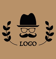 Hipster logotype man in glasses with mustache and vector image