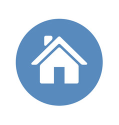 home sign placed in blue circle vector image