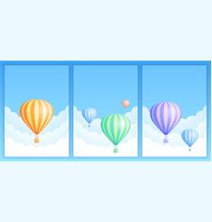 hot air balloon sky flight carnival template set vector image