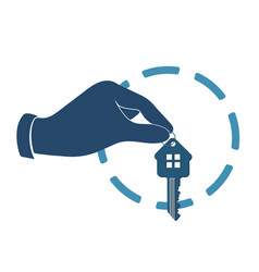 House key in hand vector
