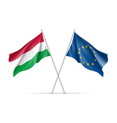hungary and european union waving flags vector image vector image