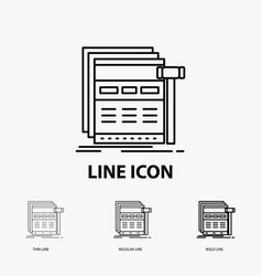 Internet page web webpage wireframe icon in thin vector