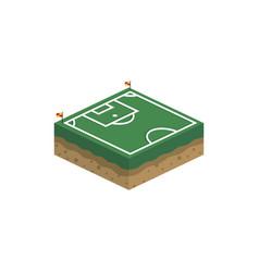 Isometric square box soccer field logo vector