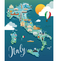 Italy map with attractive landmarks vector