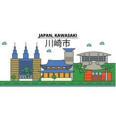 Japan kawasaki city skyline architecture vector