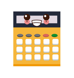 kawaii calculator school education cartoon vector image