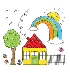 Kid s drawing of a house a tree and a rainbow vector