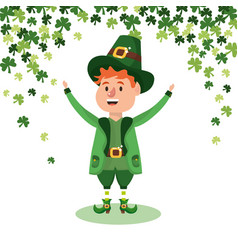 Leprechau with clovers vector