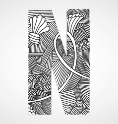 Letter N from doodle alphabet vector image