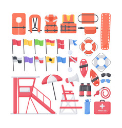 Lifeguard equipment flat icons set vector