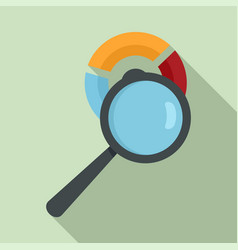 Magnifier pie chart icon flat style vector