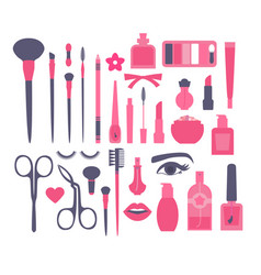 make up and decorative cosmetics flat set brusies vector image