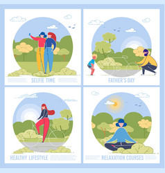 men women and children spend time in nature vector image