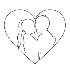 Monochrome contour with heart frame and half body vector