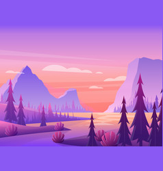 mountain landscape with pine forest and river vector image