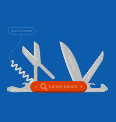 multifunctional pocket knife vector image