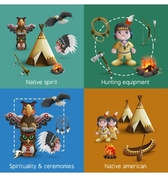 Native American Design Icons Set vector image