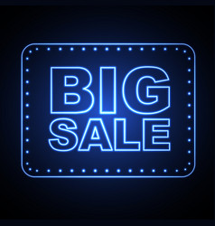 neon sign big sale vintage electric signboard vector image