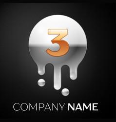 number three splash logo golden dots vector image