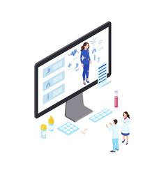 Online health diagnostics isometric telemedicine vector