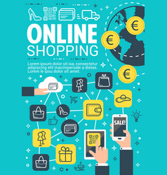 Online shopping and e-commerce banner design vector
