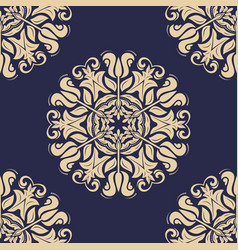 orient seamless blue and golden background vector image