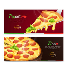 Pizza horizontal banners set vector