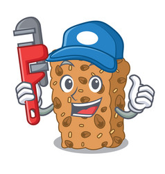 Plumber granola bar mascot cartoon vector