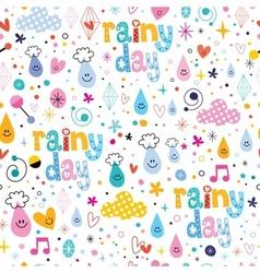 Rainy day fun characters cartoon seamless pattern vector