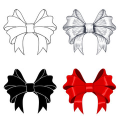Ribbon bows outline image sketch silhouette and vector