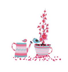 sakura flowers spring with bird cherry blossom vector image