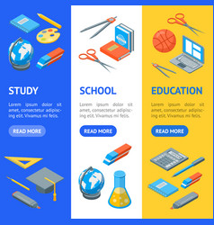 school equipments and tools banner vecrtical set vector image