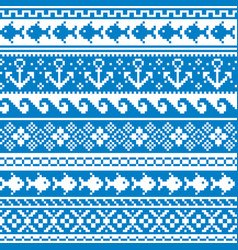 scottish fair isle traditional knit pattern vector image