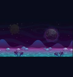 seamless alien landscape view fantasy cartoon vector image