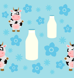seamless background card with funny cow vector image