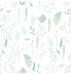 seamless pattern fern different tree foliage vector image