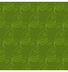 Seamless pattern of curved flowers and leaves vector image