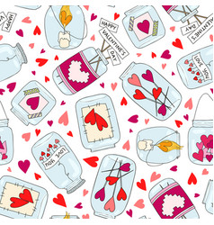 seamless pattern with cute jam jar perfect vector image